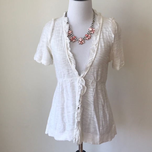 Moth Anthropologie White Short Sleeve Cardigan